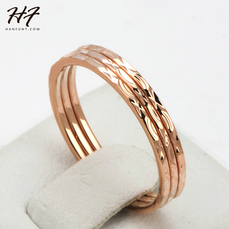ᐊConcise Three Rounds Finger Rings ⊰ Rose Rose Gold Color ...
