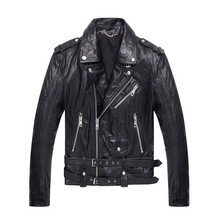 2017 Men Black Genuine Motorcycle Leather Jacket Real Sheepskin Diagonal Zipper Slim Fit Short Winter Leather Coat FREE SHIPPING