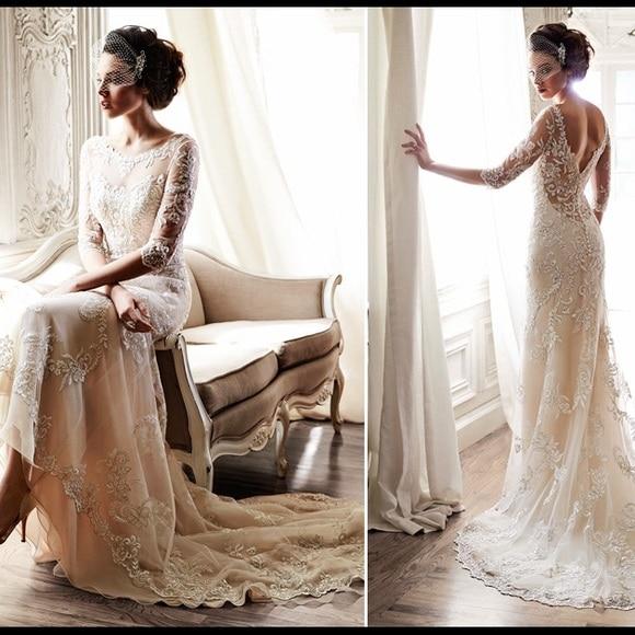 Light Champagne Mermaid Lace Wedding Dresses 2019 Vestidos De Novia Open Back 3/4 Sleeves Bridal Gowns Handmade abiti da sposa-in Wedding Dresses from Weddings & Events    2