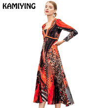 KAMIYING Leopard Silk Spring Dress Sexy V-Neck 2019 New Fashionable Temperament Was Thin Stitching Large Pen Print Female