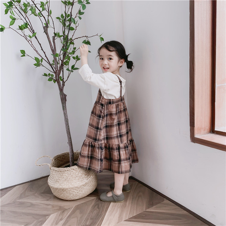 2019 New Stylish Girls Plaid Strap Dress Cotton Spring Girls Vest Dresses 1-7 years