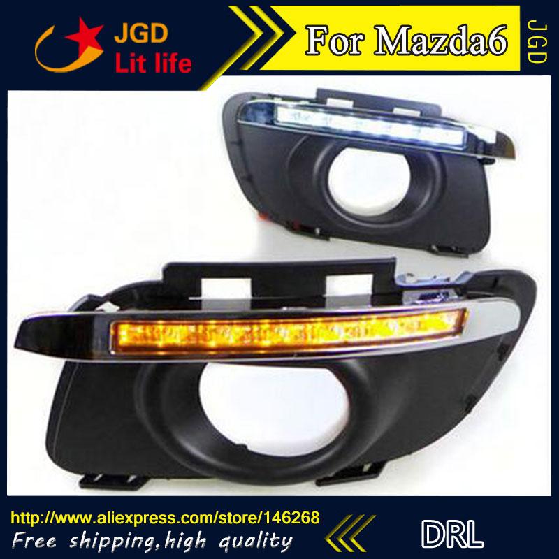 Free shipping ! 12V 6000k LED DRL Daytime running light for Mazda Mazda6 M6 2011-2013 fog lamp frame Fog light 2013 2016 innova daytime light free