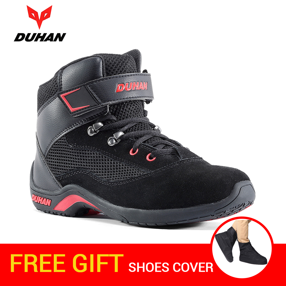DUHAN Motorcycle Boots Men Summer Mesh Moto Boots Riding Motocross Boots Motorcycle Shoes Breathable Botas Moto