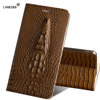 LANGSIDI Case For Huawei honor 6x BLN AL10 Case Genuine Leather Wallet Flip Cover 3D Luxury Silicone Original Holster Cow