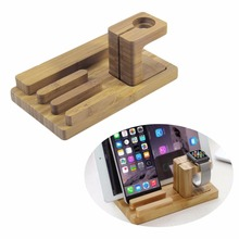 Multi-Functional Bamboo Wood Charging Station 4USB Universal Charging Stand For Desktop Phone For iPad For Apple Watch