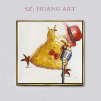 S Modern Fashion Canvas oil Painting Cute Animal Art for Home Decor Party Decor Panda and pig concert Rock and Roll Chicken