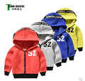 The new 2016 han edition Baby boy's fashion long-sleeved jacket children candy color headphones hooded jacket