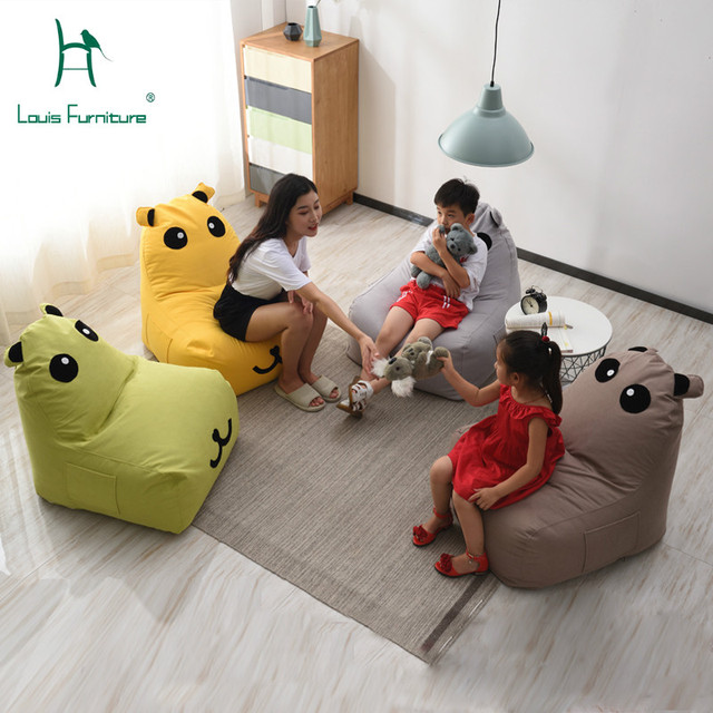 Louis Fashion Children's Sofa Bean Bag Cartoon Chair Princess Cute Animal Mini Washable Fabric Lazy Person