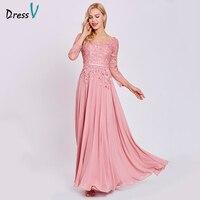 Dressv Peach Long Evening Dress Cheap V Neck Long Sleeves Appliques A Linezipper Up Wedding Party
