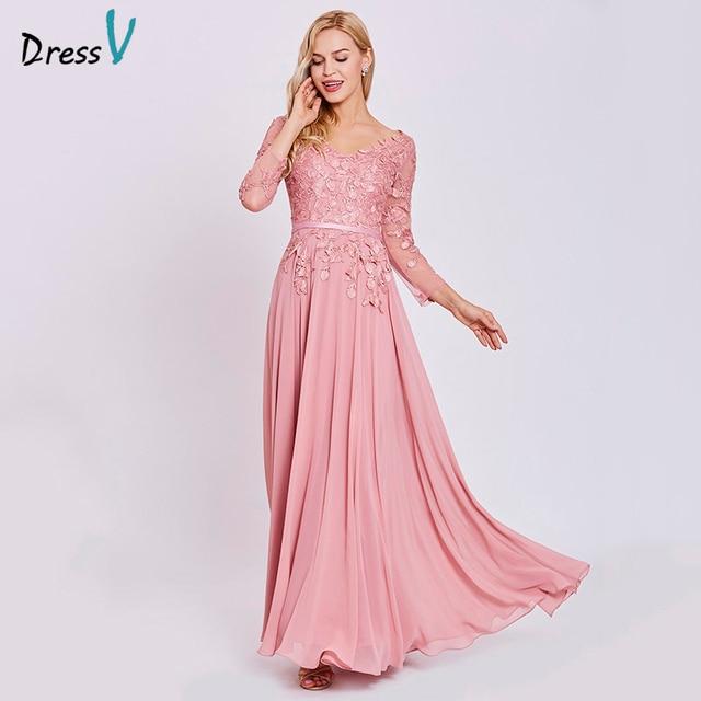 f3054691b Dressv peach vestido longo barato v neck mangas compridas apliques um  linezipper up da festa de