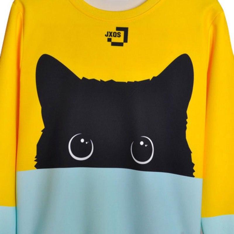 18 Autumn Winter Pullovers Funny Brand Clothin Cute Black Cat Sweatshirt Women Long Sleeve Animal Hoody 11