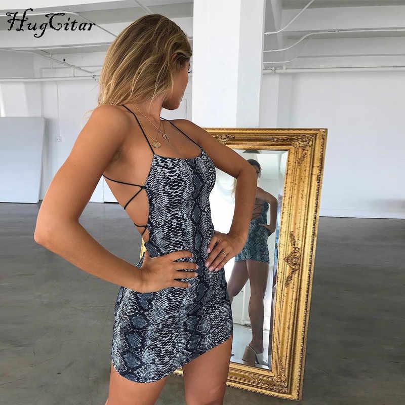 Hugcitar backless sexy bodycon mini jurk 2019 zomer herfst vrouwen mode club snake print club mouwloze kleding