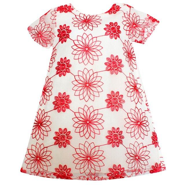 7244657da364f Shybobbi D été Filles Robe Fleur Rouge Brodé Dentelle Partie D anniversaire  Princesse Beauté