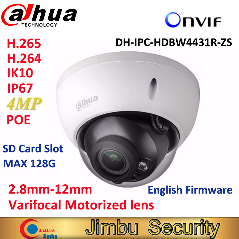 Dahua 4MP bullet IP Camera IPC-HDBW4431R-ZS varifocal motorized lens H2.65 IR50M with sd Card slot POE onvif IP67 IK10 dahua english vewrsion 4mp wdr network vandalproof bullet ip camera with fixed lens ip67 ipc hfw4421e 3 6mm lens