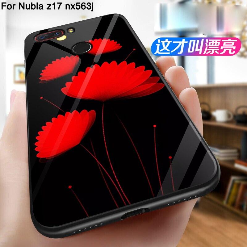Pour ZTE NUbia Z17 Lite nx591j Cas couverture dessin animé de mode en verre Trempé Couverture Arrière Pour NUbia Z17 Lite téléphone cas shell fundas