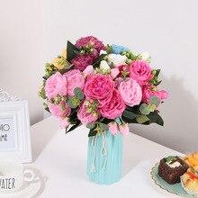 5 головок, искусственные праздничные декоративные вечерние цветы для дома, отеля, свадьбы, офиса, сада