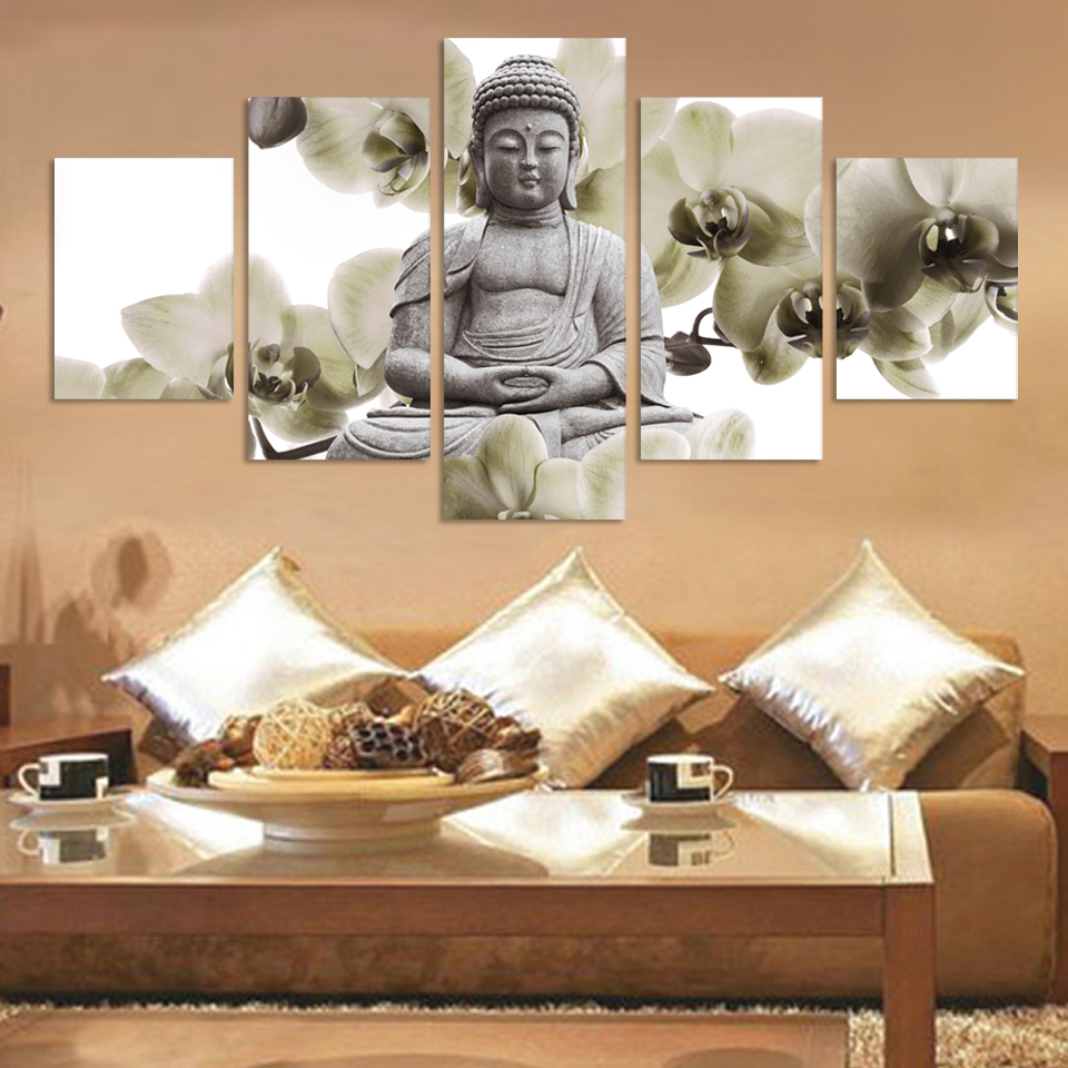 Aliexpress.com : Buy UnFramed 5 Panel Large Orchid Background Buddha  Painting Fengshui Canvas Art Wall Pictures For Living Room Home Decor Fx015  From ... Part 75