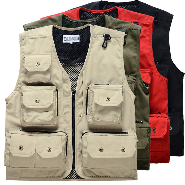 e2c2fd5366e Men s Vest Sleeveless Jacket Style Casual Vest Fashion Waistcoat Military  Tactical Jacket Sweatshirt Multi-pocket