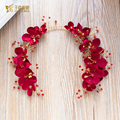 Fashion red flower headband women hairband rhinestone girl hairwear handmade chain bride fascinator wedding accessories danqin