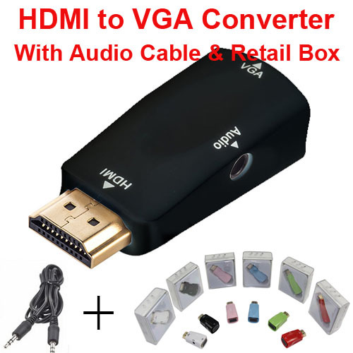 HDMI to VGA with Audio Cable HDMI to VGA Adapter Male To Female 1080p HDMI to VGA Converter For PC/TV/Xbox 360 PS3