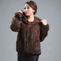 2015 New Knitted Genuine Mink Fur Coat Women Long Top Fashion All Match Mink Outerwear Sweaters