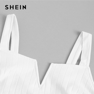 Image 4 - SHEIN Beige Slim Fitted Solid Cami Top Women 2019 Summer Party Minimalist Basics Spaghetti Strap 2019 Vests