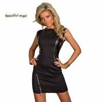 Yaz Elbise Kaya Siyah Tasarım Elbise Moda Faux Deri Dans Kulübü Aşınma Tarzı Patchwork Kadın Giyim Yenilik Fermuar Elbiseler