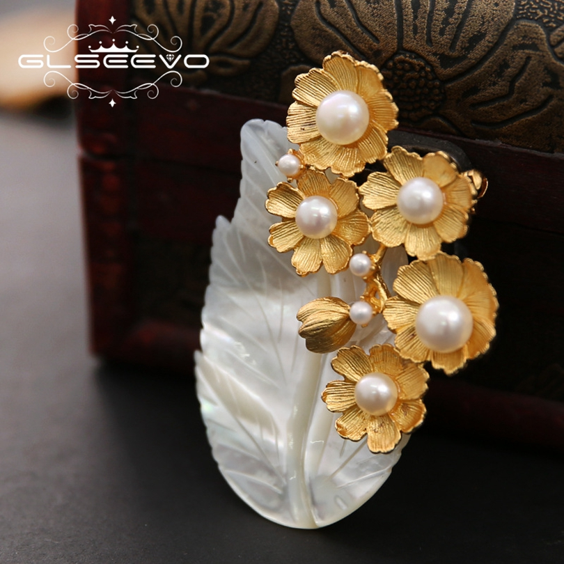 GLSEEVO Natural Fresh Water Pearl Brooch Pins Mother Of Pearl Leaf Brooches For Women Dual Use Designer Jewelry Luxury GO0233