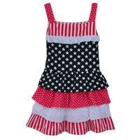 עליון מיני יולי בנות בגדי קיץ שמלת סאטן Trim מרובות שכבות עוגת כוכב הדפסת לשרוך אדום מכפלת פעוט בנות J013