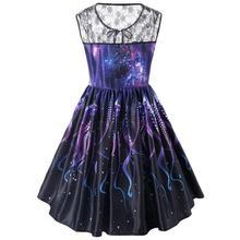 vintage retro women midi dress 2018 summer sleeveless mesh o neck purple vestido de festa robe femme elegant party dress