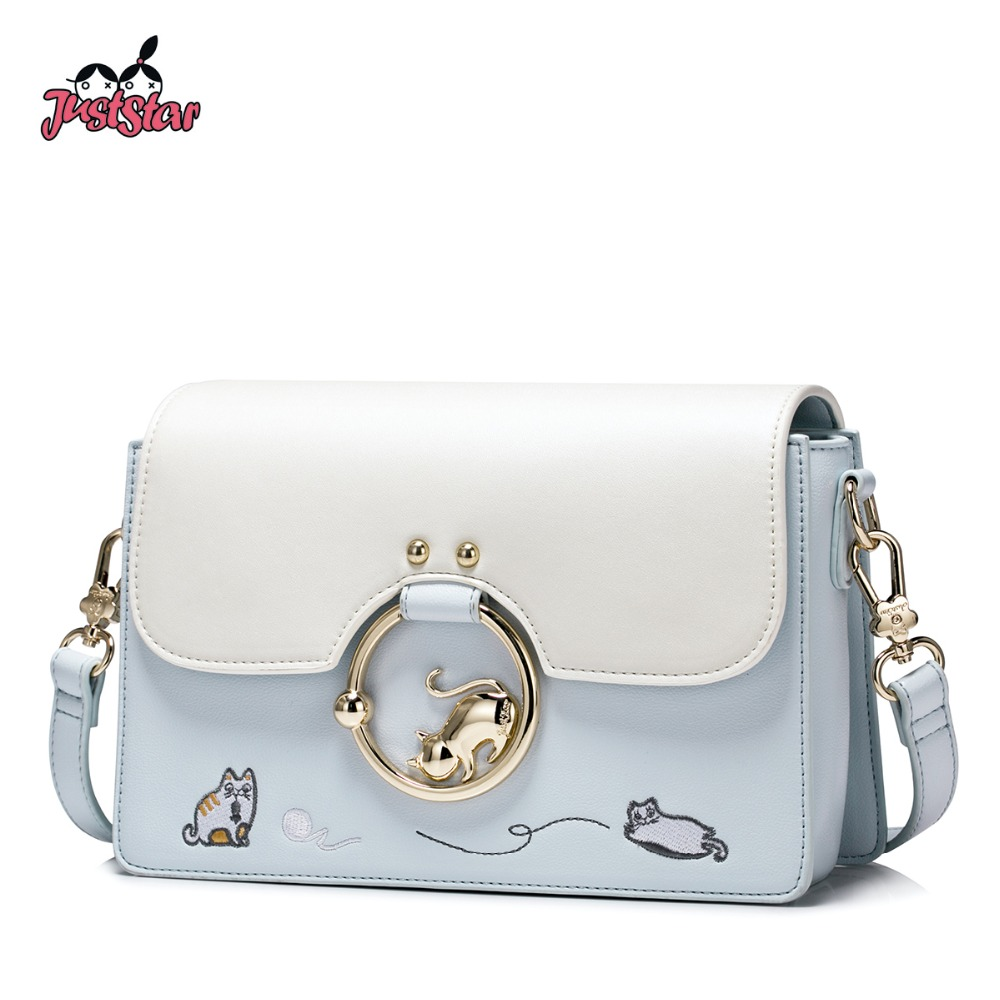 JUST STAR Women's PU Leather Messenger Bags Ladies Cartoon Cat Embroidery Shoulder Purse Female Flap Crossbody Bags JZ4470 just star women s pu leather handbag ladies cartoon cat embroidery tote shoulder purse female leisure messenger bags jz4492