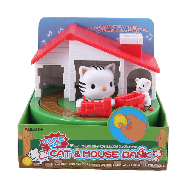 Cute Mouse And Cat Save Money Box Toy Banks Collecting Saving Money Bank Creative Gift With Music Coins Saving Box