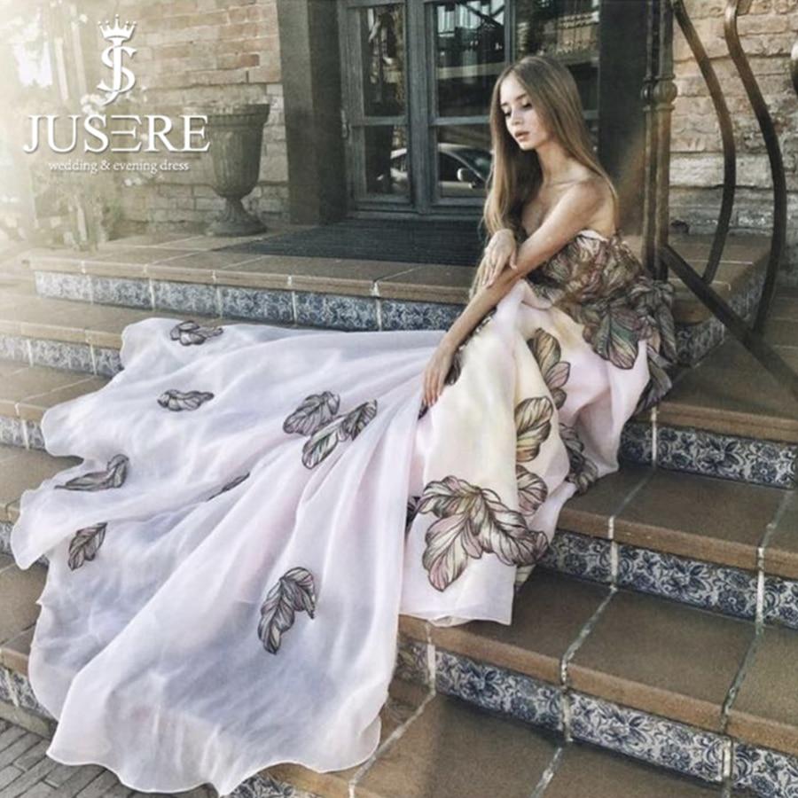Pattern Applique Ball Gown Off Shoulder Luxury Train A line Women Formal Red Carpet Embroider Leaf Evening Dress Prom Dress 2018