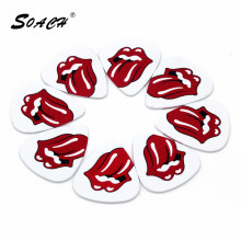 SOACH 10pcs/Lot 1.0mm thickness guitar pick Red lips and tongue  high-quality guitar accessories double-sided pattern material
