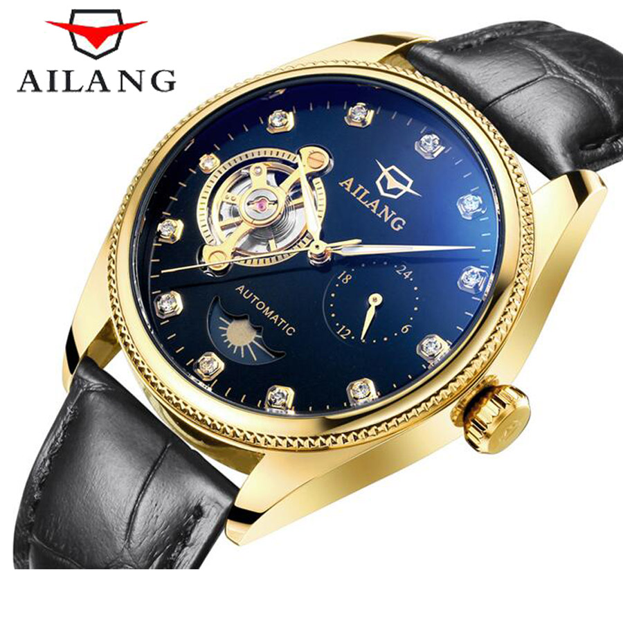 Fashion Luxury Brand AILANG Tourbillon Men Watch Diamond Automatic Mechanical Genuine Leather Straps Watches relogio masculino luxury brand ailang automatic mechanical watches mens waterproof double tourbillon watch genuine leather straps men wrist watch