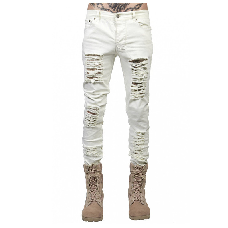NEW fashion high street mens destroyed Skinny jeans hole casual pants cool  wash jogger damage rock hip hop men denim biker jeans-in Jeans from Men's  ... - NEW Fashion High Street Mens Destroyed Skinny Jeans Hole Casual