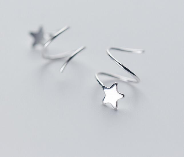 (così Piccolo/tinny Orecchini) 100% Reale. 925 Sterling Silver Gioielleria Raffinata Contorto Star Dell'orecchio Della Vite Prigioniera Orecchini Gtle1678
