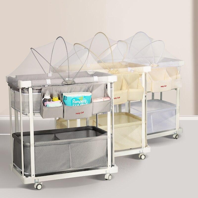 Baby Ändern Tisch Höhe Einstellbare Windel Kleidung Ändern Pflege Tisch Lagerung Hängen Tasche Moskito Net Kokos Matratze Enthalten