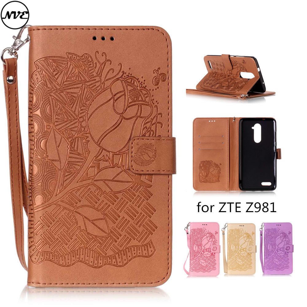 For Zte Zmax Pro Z981 Case Back Cover Rose Pattern Flip