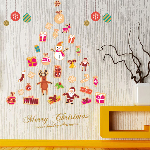 diy christmas wall sticker decals party store window christmas decoration new year gift home decor poster