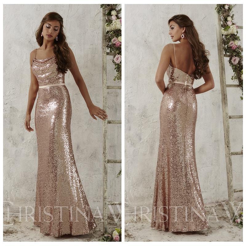 Rose Gold Sequins Bridesmaid Dresses 2017 Spaghetti Straps