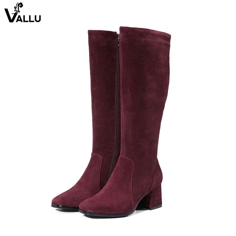 Кожаные сапоги до колена, женская обувь на толстом каблуке, модные роскошные зимние сапоги, женская обувь из нубука на молнии с круглым носк...