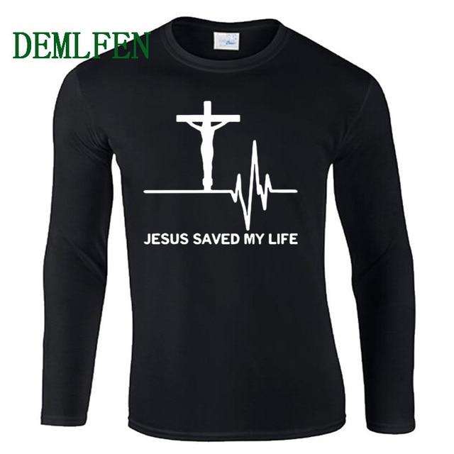 f315ac5f4ab4 Jesus Saved My Life T Shirt Men Savior God Religion Prayer Faith Christian T -shirts Male Cotton Long Sleeve Tops Tees Streetwear