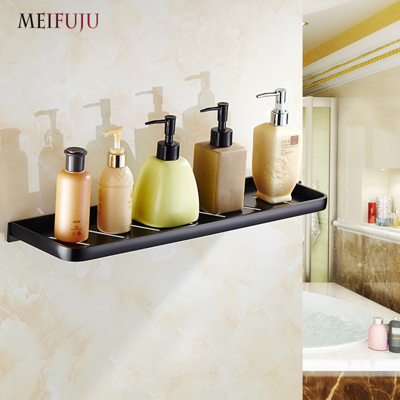 MEIFUJU Aluminum Alloy Black Bathroom Shelves cosmetic rack bathroom ...