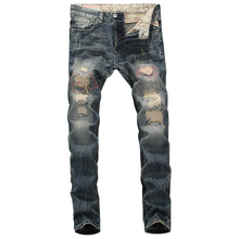 2019 New Designer Mens Jeans Destroyed Ripped Jeans For Men Casual Pants Slim Fit Brand Streetwear Stretch Biker Jeans Trousers new designer dots print biker jeans men character ripped patchwork casual men s jeans pants 100
