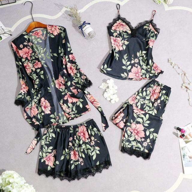 שינה טרקלין פיג 'מות סט סקסי סאטן הלבשת נשים קיץ Pyjama נקבה אופנה פרח פיג' מה עבור נשים עם כרית חזה