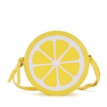 2016 schöne gelbe lemon tasche orange tasche mini fruit pu-leder schultertasche messenger taschen modische rund handtaschen nette