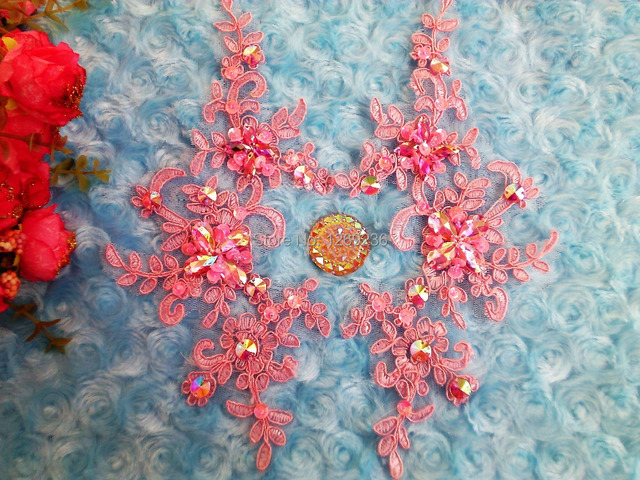 Handmade crystal sequins rhinestones patches sew on pink lace