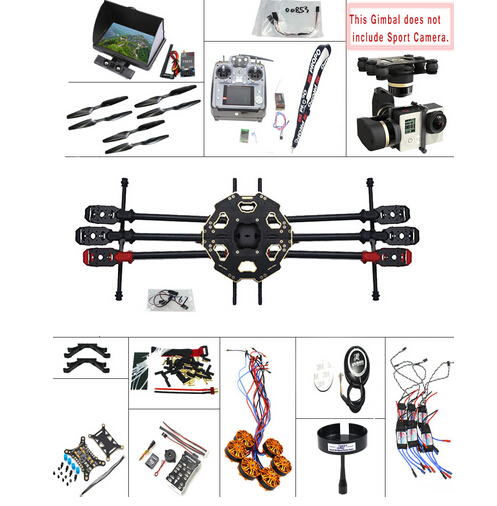 JMT DIY 2.4G 10CH PX4 GPS 5.8G FPV 680PRO RC Hexacopter Unassembled Full Kit ARF No Battery RC Drone MINI3D Pro Gimbal F07807-H
