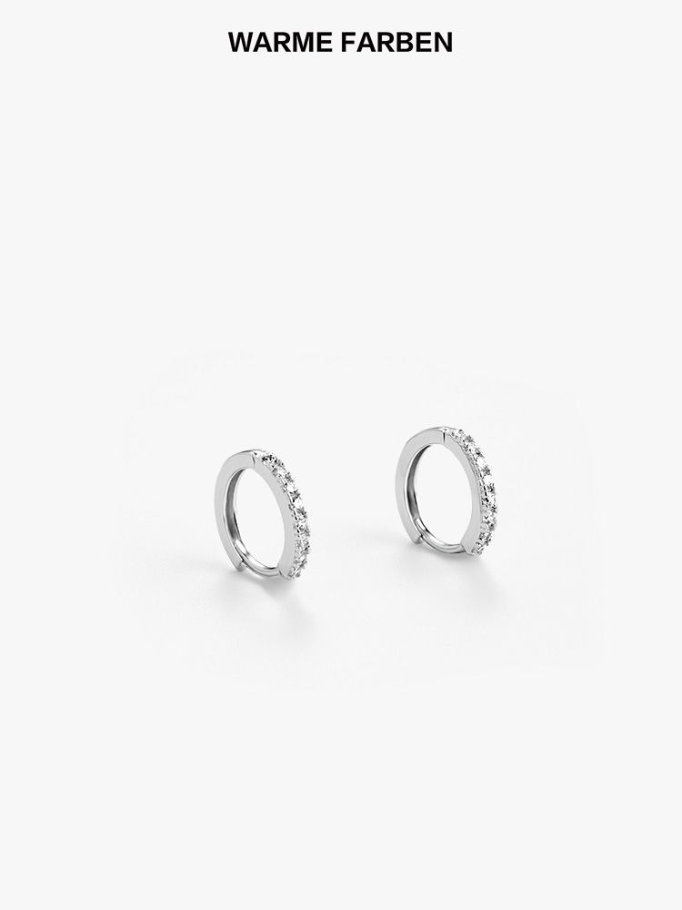 Warme Farben Authentic Genuine 925 Sterling Silver for Women Stud Earrings Crystal Jewelry clip on circle Earring in Earrings from Jewelry Accessories
